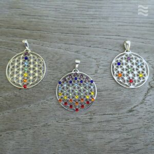 Anhänger Blume des Lebens 925 Silber mit Charka mit Swarovski-Kristallen in 3 Ausführungen