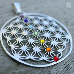 Anhänger Blume des Lebens 925 Silber mit Charka-Säule Swarovski-Kristalle