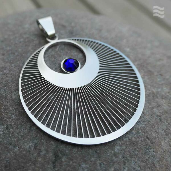 Anhänger Kornkreis Engel Edelstahl mit Swarovski blau 35mm