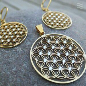 Anhänger Blume des Lebens Edelstahl vergoldet mit weißen Swarovski Kristallen 50 mm und Ohrringen