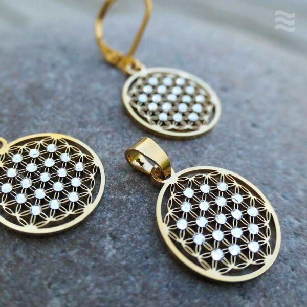 Anhänger Blume des Lebens Edelstahl vergoldet mit weißen Swarovski Kristallen in 15mm mit Ohrringen