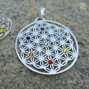 Anhänger Blume des Lebens 925 Chakra Kreis Swarovski Kristalle