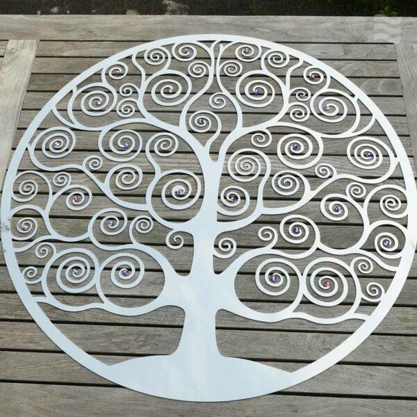 Wandscheibe Lebensbaum mit Swarovski Aurore Boreale Totalansicht 86cm