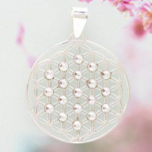 Schmuck,Silber,925,Anhänger,Blume des Lebens,Swarovski,15-35mm,19 Kristalle